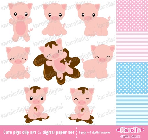 small resolution of cute pigs clip art digital paper set