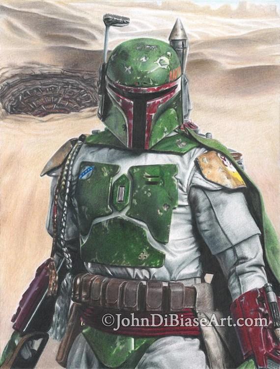 Full Color Drawing Print Of Boba Fett In Star Wars Sarlacc Etsy
