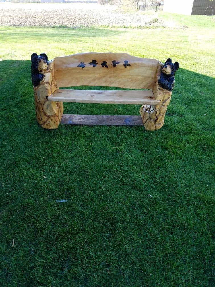 carved bear bench etsy