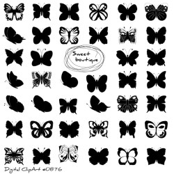 Butterfly Silhouettes Clipart Clip Art Butterfly Clipart Clip Etsy