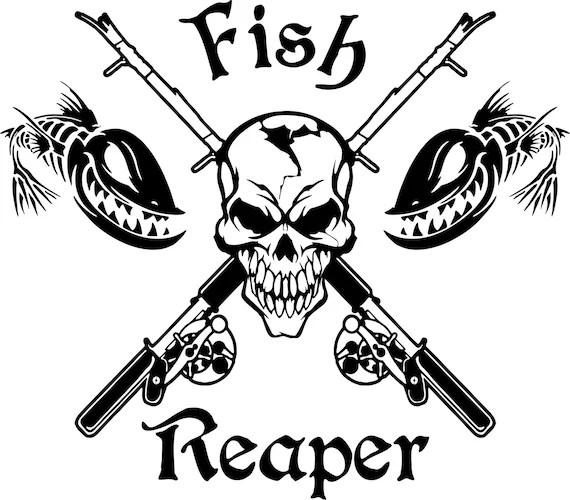 Fish Reaper Skull Skeleton Rod Car Boat Truck Window Vinyl