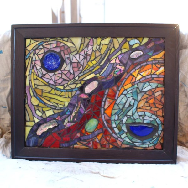 Abstract Glass Mosaic Wall Art With Abalone Recycled Materials