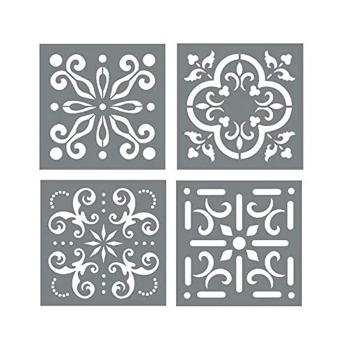 mexican tile stencil set pack of four 6x6 tile stencil etsy