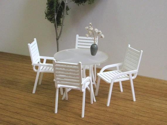 Miniature Patio Dining Set 1 12 Scale Handmade Dollhouse Etsy