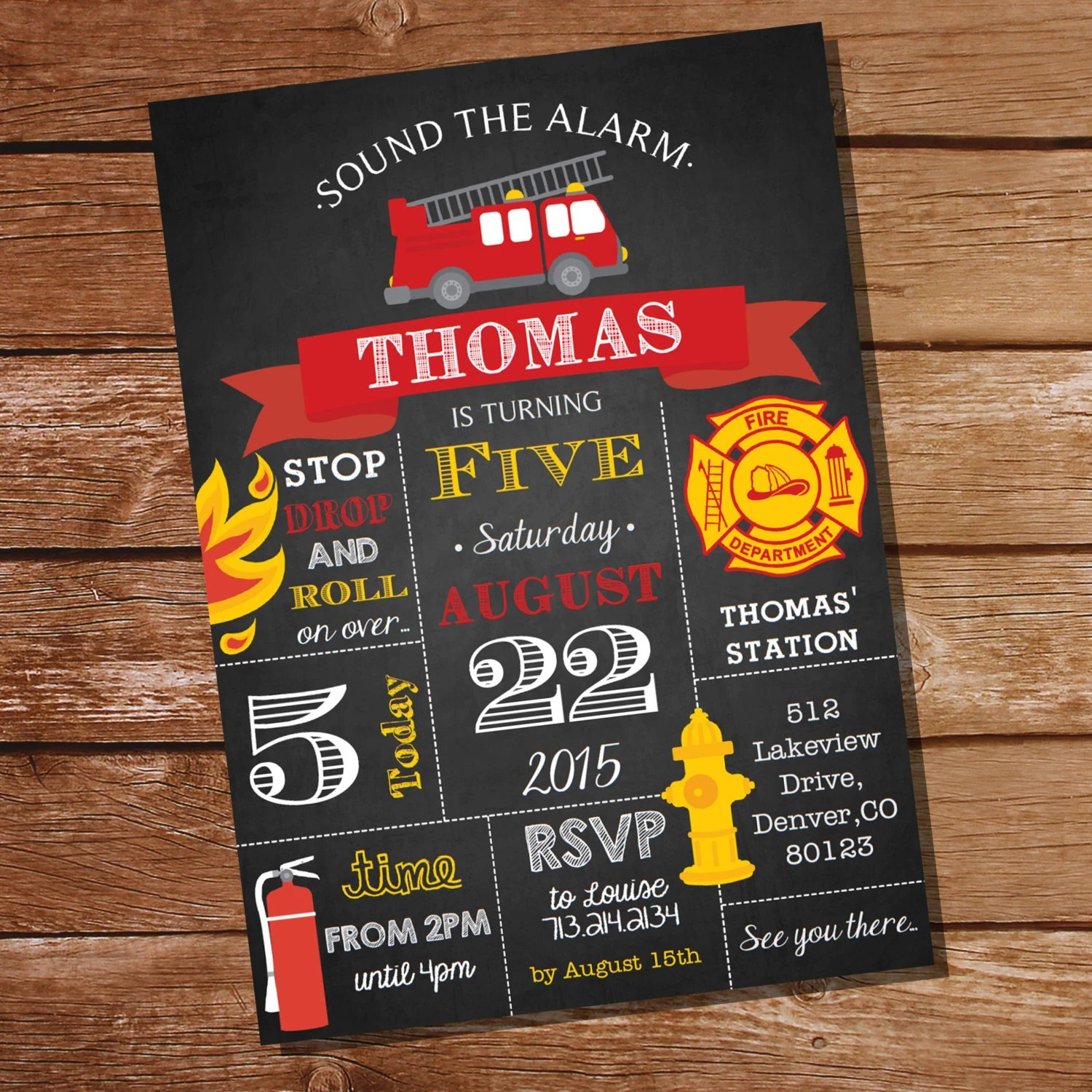 Don't forget the party favors! Chalkboard Fireman Firefighter Birthday Party Invitation Instant Download And Edit File At Home With Adobe Reader Print At Home By Sunshineparties Catch My Party