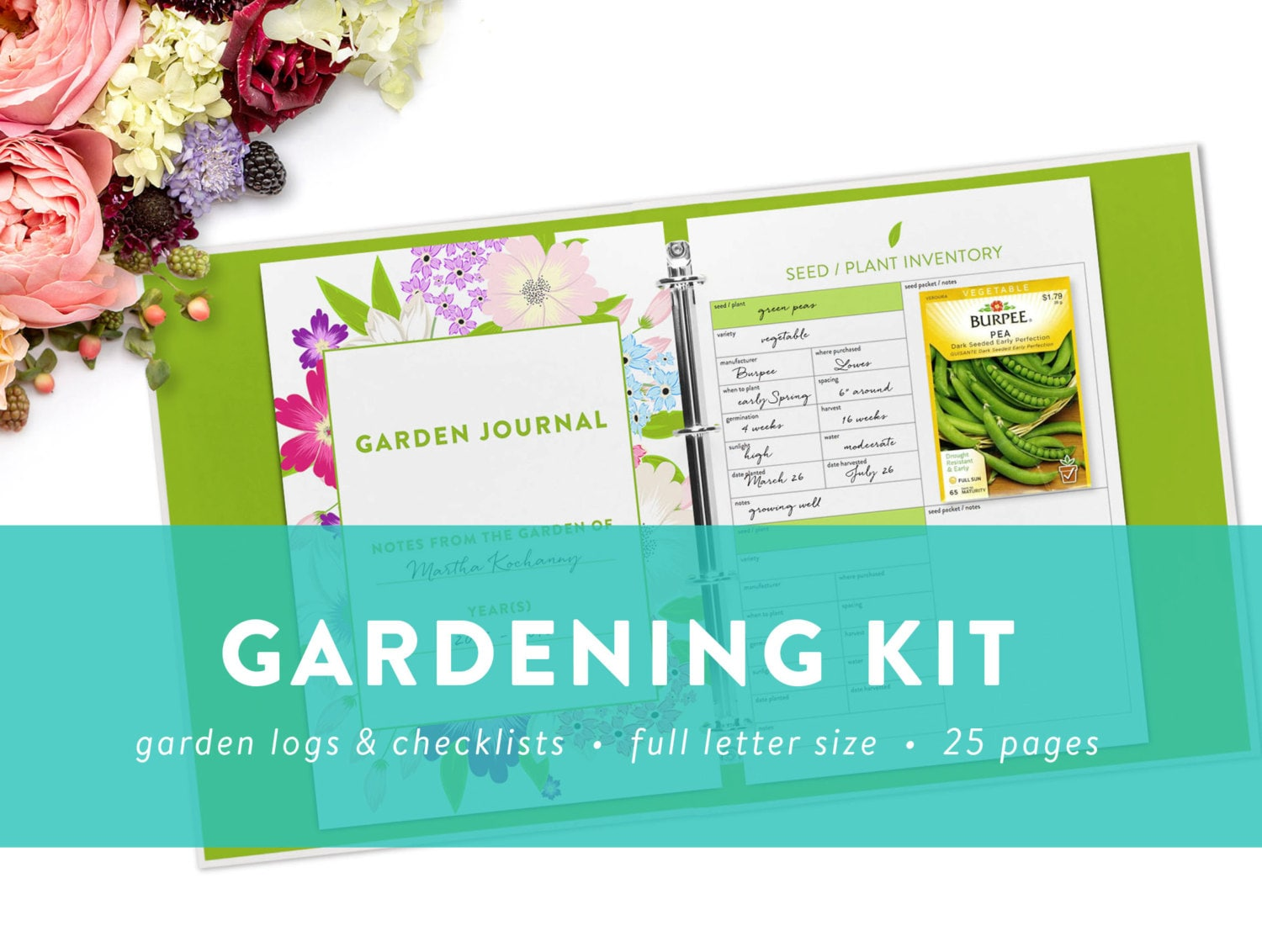 Editable Gardening Kit Printable Garden Checklists Logs