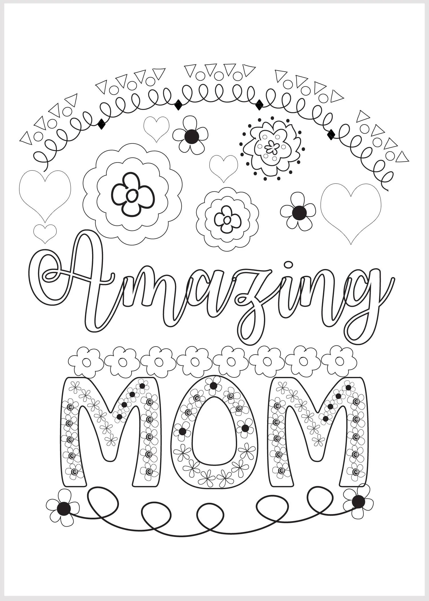 Adult Coloring Floral Mothers Day 5 x 7 Card Amazing Mom