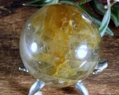 Yellow Fire Quartz Sphere, Hematoid Quartz Crystal ~1846