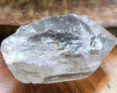 Raw Clear Quartz Point, Tibetan Black Quartz Crystal Wand ~1559