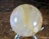 Yellow Fire Quartz Sphere, Hematoid Quartz Crystal ~1840