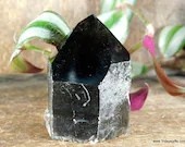 Raw Smoky Quartz with Polished Point, Black Smoky Quartz Tower, Crystal Tower ~1872