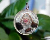 Black Tourmaline and Ruby Orgone Pendant, Protection Amulet ~482