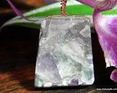 Rainbow Fluorite Crystal Necklace, Fluorite Pendant (538)