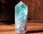 Fluorite Crystal Point, Purple Fluorite, Green Fluorite, Rainbow Fluorite ~2066