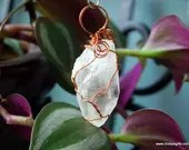 Clear Quartz Crystal Pendant Copper Wrapped Jewelry, Quartz Point Pendulum Crystal Jewelry ~906