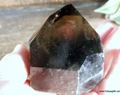 Raw Smoky Quartz with Polished Point, Black Smoky Quartz Tower, Crystal Tower ~1868