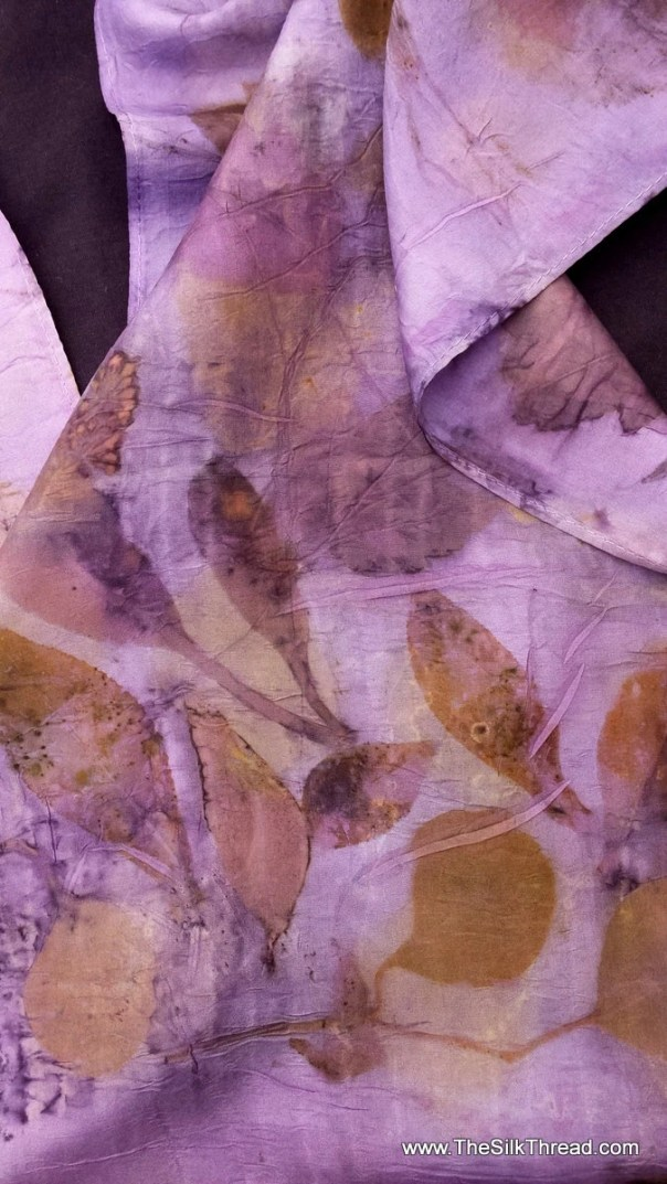 Purple Silk Scarf, ECO-printed with logwood and fall leaves in all natural colors, totally organic & renewable art, 11 x 60 FEE ship USA