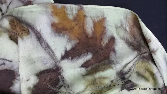 """Pale green Silk Scarf, eco-printed with maple, rose and oak leaves by artist, all natural, sustainable, renewable fashion art, 8"""" x 72"""""""