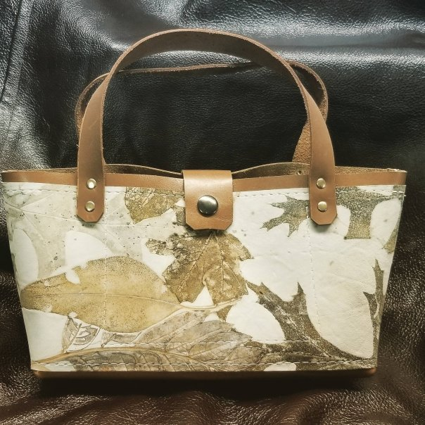 Leather Handbag,Ecoprinted with Beautiful Designs & Natural Colors from Actual Plants, Handcrafted by Artist, Purse,Pocketbook,Free Ship USA
