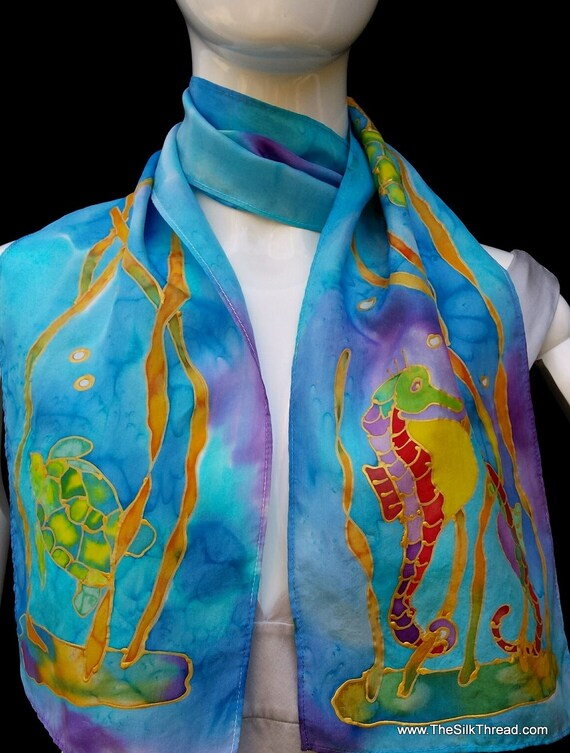 Sea Turtle Silk Scarf, Seahorses, blue, green,multi-colored, Original art, hand painted in gold, silk art designs by artist, handmade