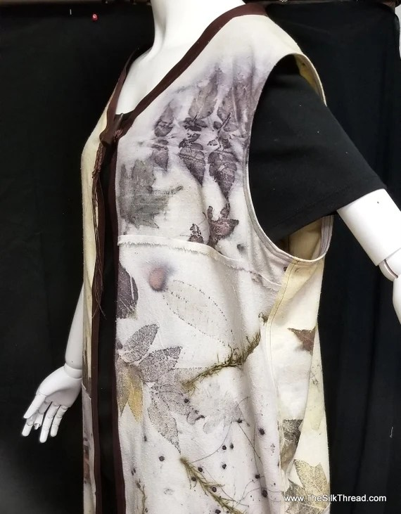 Lagenlook Style Vest,Tunic,Ecoprinted Silk Noil, Hand Crafted by Artist,Natural Designs from Nature,Boho,Original,All Size Fit,Free USA ship