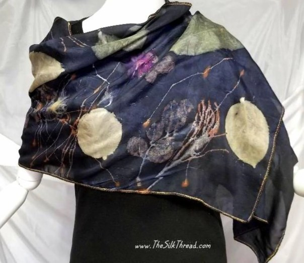 "Silk Scarf, Wrap, Rich Dark Purple, Ecoprinted with Flowers,Leaves & Natural Dyes, Gold trim, Organic, Sustainable Art By artist, 20"" x 58"""