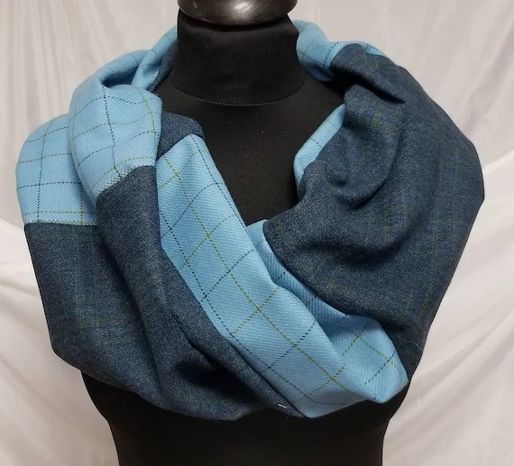 Infinity Wool Blend Scarf.  Handcrafted with Shades of Blue by Artist. Cozy, Flattering Single Loop Style, Slow Fashion, Free ship USA