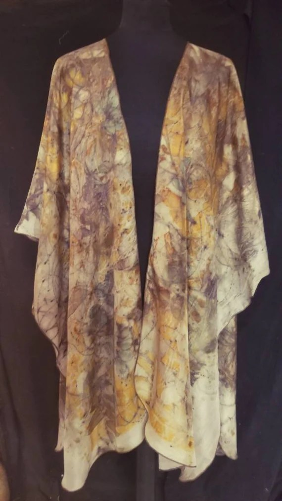 Silk Ruana,Wrap,Cape, Shawl,Beautiful Pumpkin Spice, Ecoprinted with Leaves by Artist,Handcrafted, Slow Fashion,Fits All Sizes,FREE Ship USA
