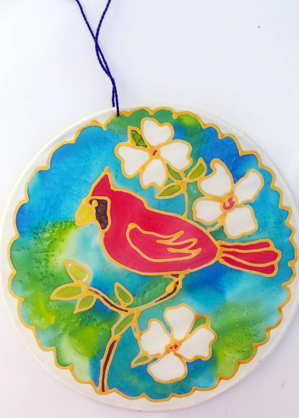 "Red Cardinal Silk Suncatcher, Dogwood, hand painted silk art, 6"" diameter sun catcher by artist, stained glass look, window art, wall decor"