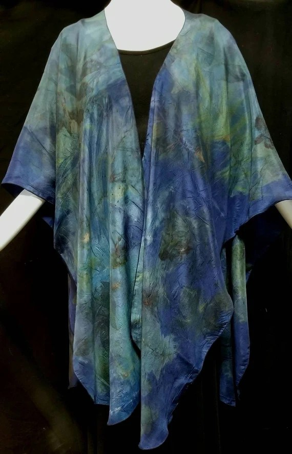 Blue Silk Ruana, Wrap, Cape,Shawl, Ecoprinted with Leaves by Artist, Handcrafted, Slow Fashion, Natural Colors,Fits All Sizes, FREE Ship USA