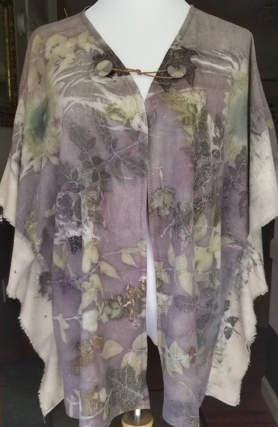 Purple Ecoprinted Tunic,Beautiful Details,By Artist,Soft Silk Noil, Fits All Sizes,All Natural Designs from Plants,Sunflowers, Free USA ship