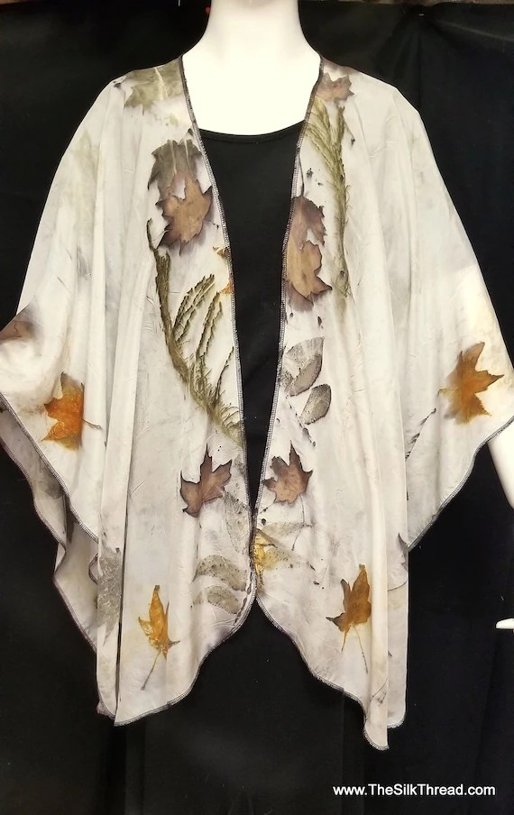 Silk Ruana, Wrap, Cape, Shawl, Ecoprinted with Leaves by Artist, Handcrafted, Slow Fashion, Natural Colors,Fits All Sizes, FREE Ship USA