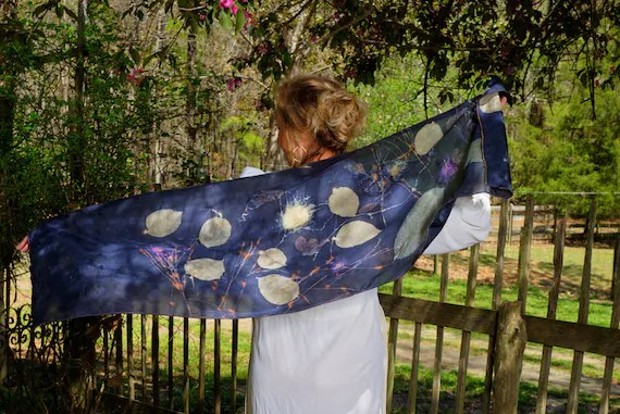 """Silk Scarf, Wrap, Rich Dark Purple, Ecoprinted with Flowers,Leaves & Natural Dyes, Gold trim, Organic, Sustainable Art By artist, 20"""" x 58"""""""