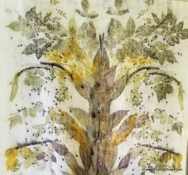 Tree Wall Hanging Created from Pecan Leaves, Ecoprinted on Raw Silk, All Natural, by artist, totally organic, sustainable art, 29 x 48 in.