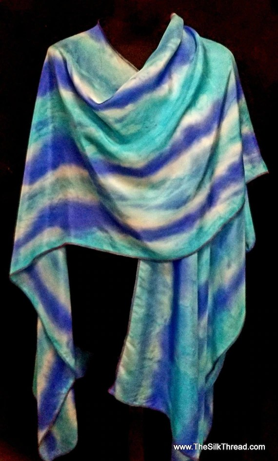 Blue & Turquoise Striped Silk Ruana, Shawl, Wrap, Beautiful Design by Artist, Hand dyed, Handcrafted in NC, Fits All Sizes, FREE Ship USA