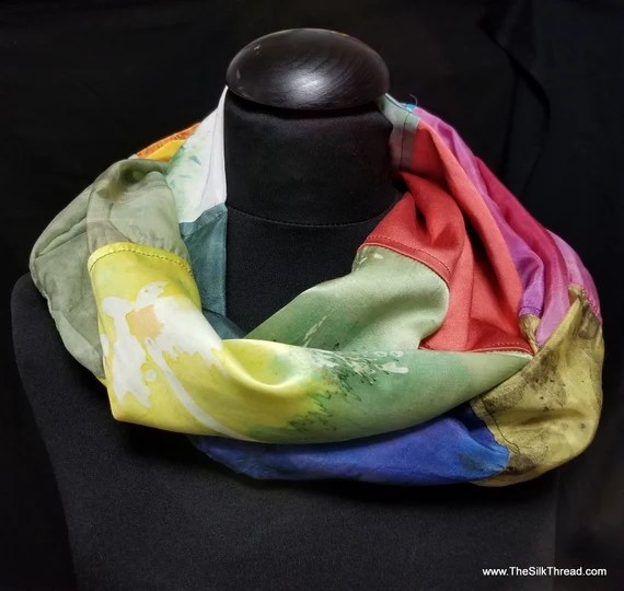 Silk Infinity Scarf. Handcrafted with Hand Painted & Upcycled Silk by Artist.Colorful, Flattering Tubular Style, Multi-colored Free ship USA