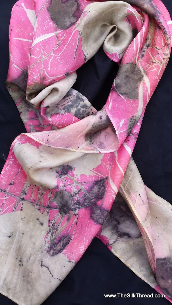 Silk Scarf, red pink all natural colors,  ECO-printed with actual leaves, totally organic & renewable, sustainable art by artist, 11 x 60