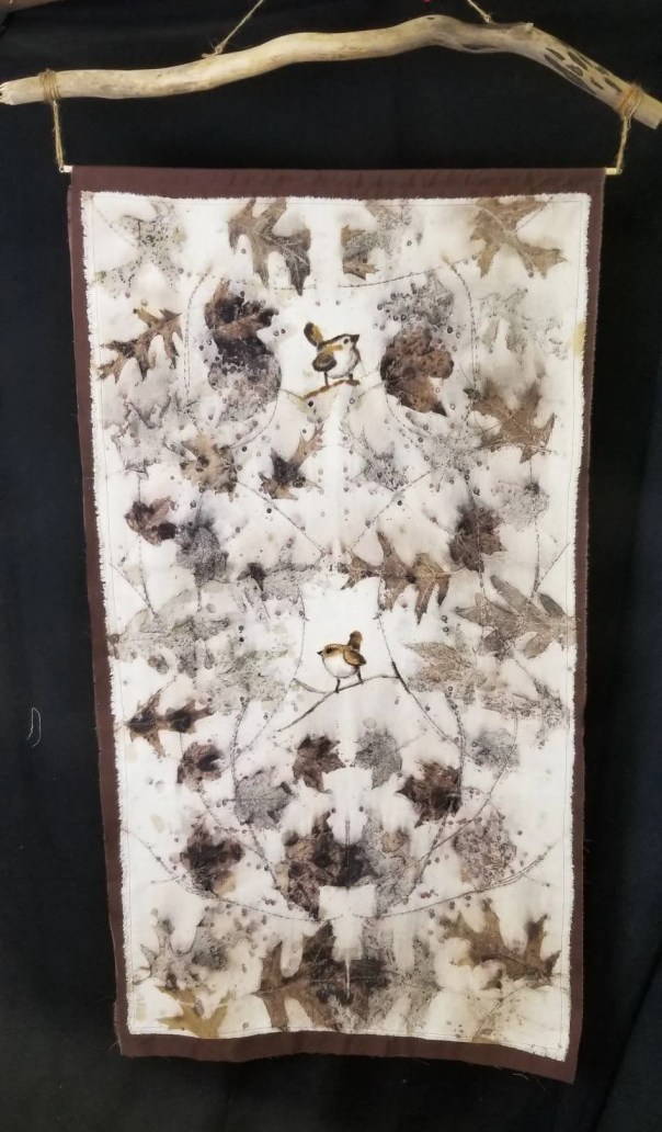 Ecoprinted Silk Wall Hanging with Hand Felted Birds & Backing, Driftwood Hanger, All Natural, by Artist, Wall Art, Sustainable, 28 x 48 in.