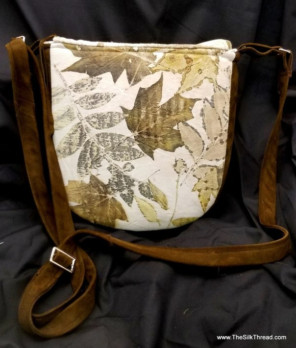 Leather Handbag, Silk Lining, Unique Ecoprinted Designs & Colors from Plants, Handcrafted by Artist, Purse, Pocketbook, Free Shipping USA