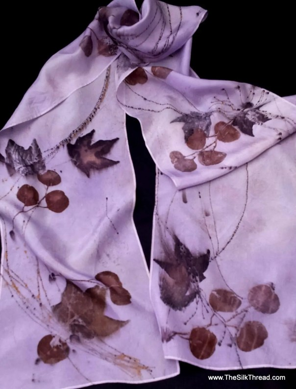 "Pale Lilac Silk Scarf,  Ecoprinted Design with Maple Leaves & Plants by Artist, Sustainable Slow Fashion art, 8"" x 72"" 126H, Free USA ship"