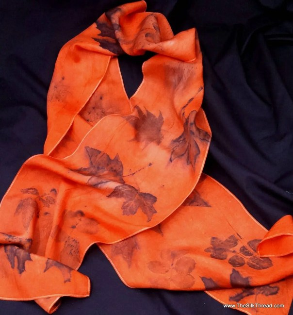 """Bold red-orange Silk Scarf,  Ecoprinted with Maple, Rose and Oak by Artist,Sustainable, Unique Slow Fashion art, 8"""" x 72"""" 126E Free USA ship"""