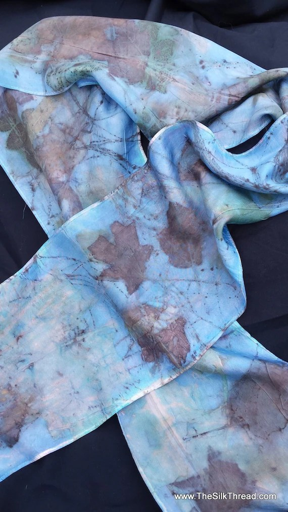 "Lovely Blue Silk Scarf, leaf designs & colors imprinted from actual plants, 8"" x 72"", Organic, all natural, sustainable silk art by artist"