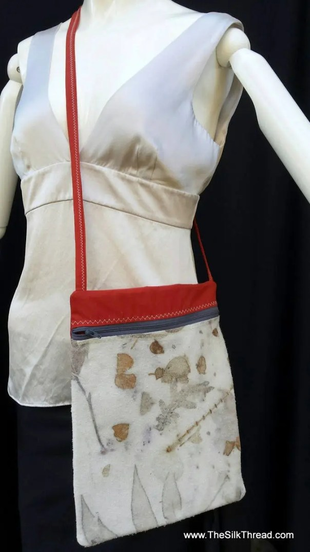 Silk handbag, pocketbook, All natural designs & actual colors from plants, sustainable, eco-friendly, handcrafted, crossbody purse