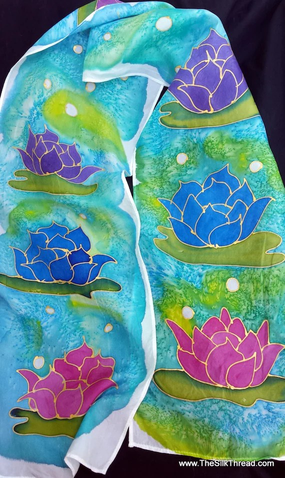 Lotus Blossoms Silk scarf. Custom Silk Scarf, Hand Drawn in Gold By Artist, Vibrant Shades of Blues, Purples and Wine, OOAK, Free Ship USA
