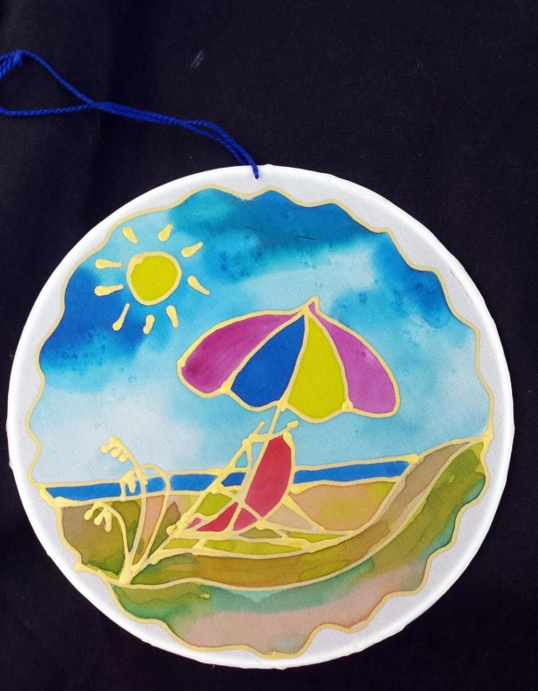 "Silk Suncatcher, whimsical hand painted beach chair, silk art, 6"" diameter sun catcher, NC art, stained glass look, window art, wall decor"