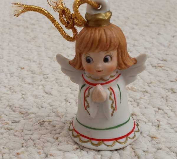 Lefton Christmas Angel Ornament Bell Ceramic