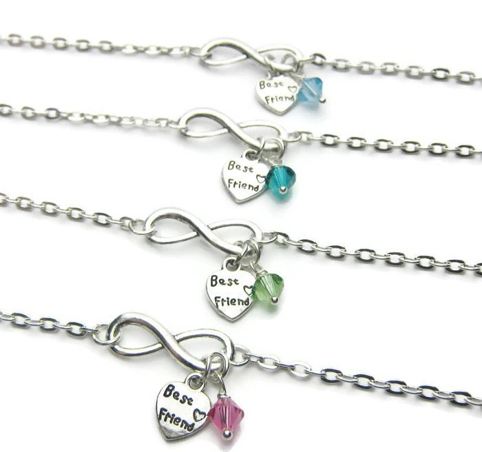 4 Infinity Swarovski Birthstone Heart Best Friend