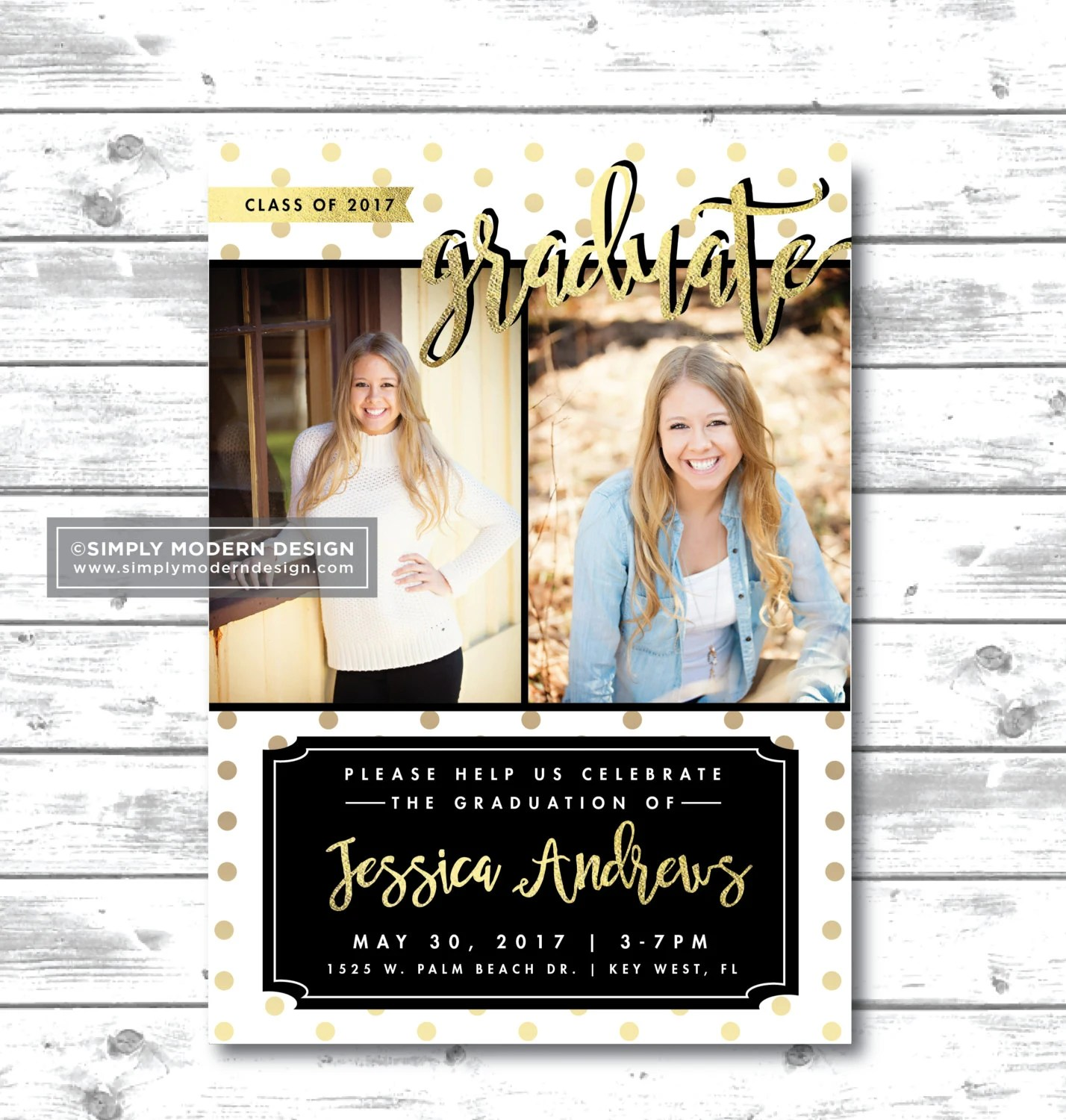 gold foil graduation announcement