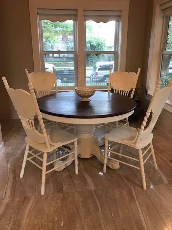 Sold Vintage Antique Cottage Farmhouse Dining Table And Chairs Country Display White Shabby Chic Windsor 4