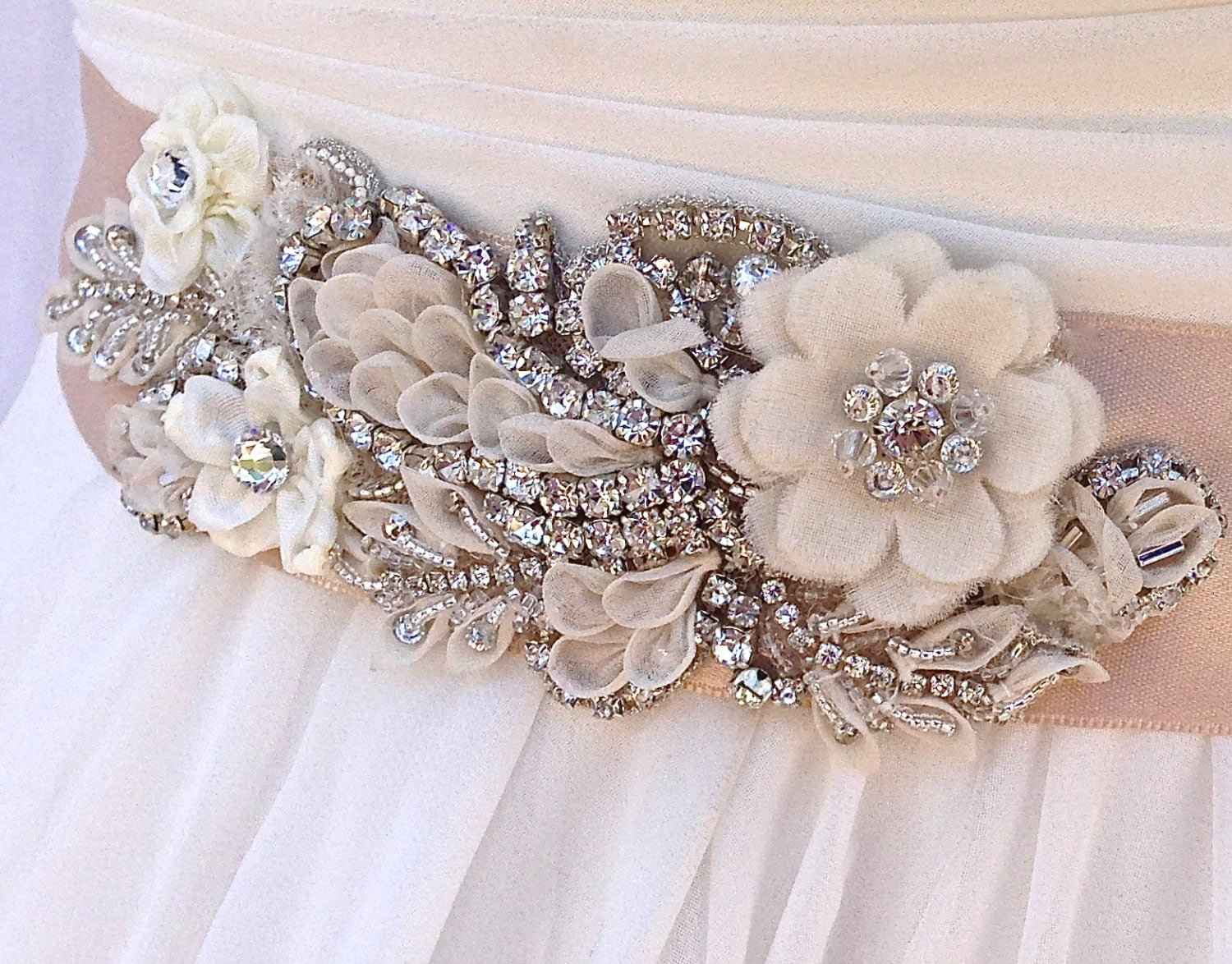 Crystal Beaded Bridal Sash-Wedding Sash In Champagne